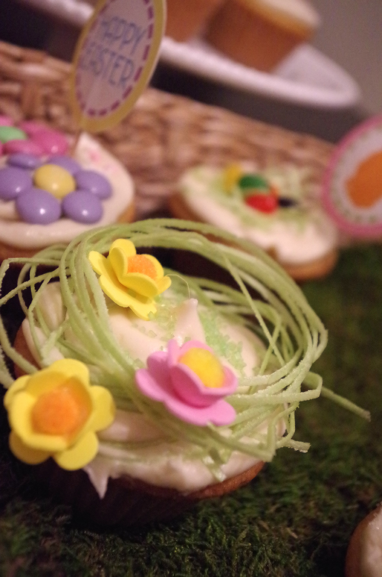 Variety of Super Moist Cupcakes with Easter Decorations