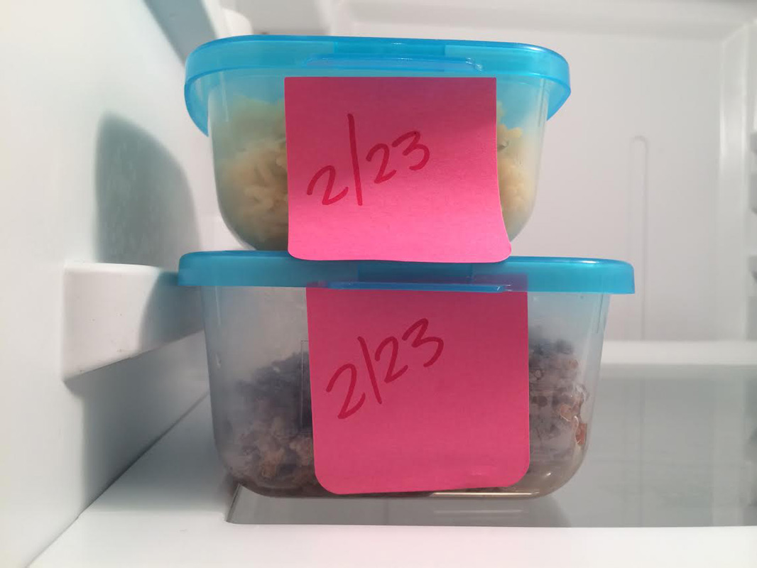 tupperware with labeled expiration dates