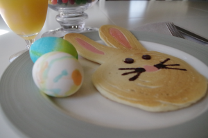 Table setting with and Easter Bunny Pancake and hard boiled eggs