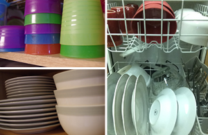 Like Items Grouped together in Dishwasher and on Shelf
