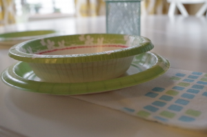 Cute table setting using paper products