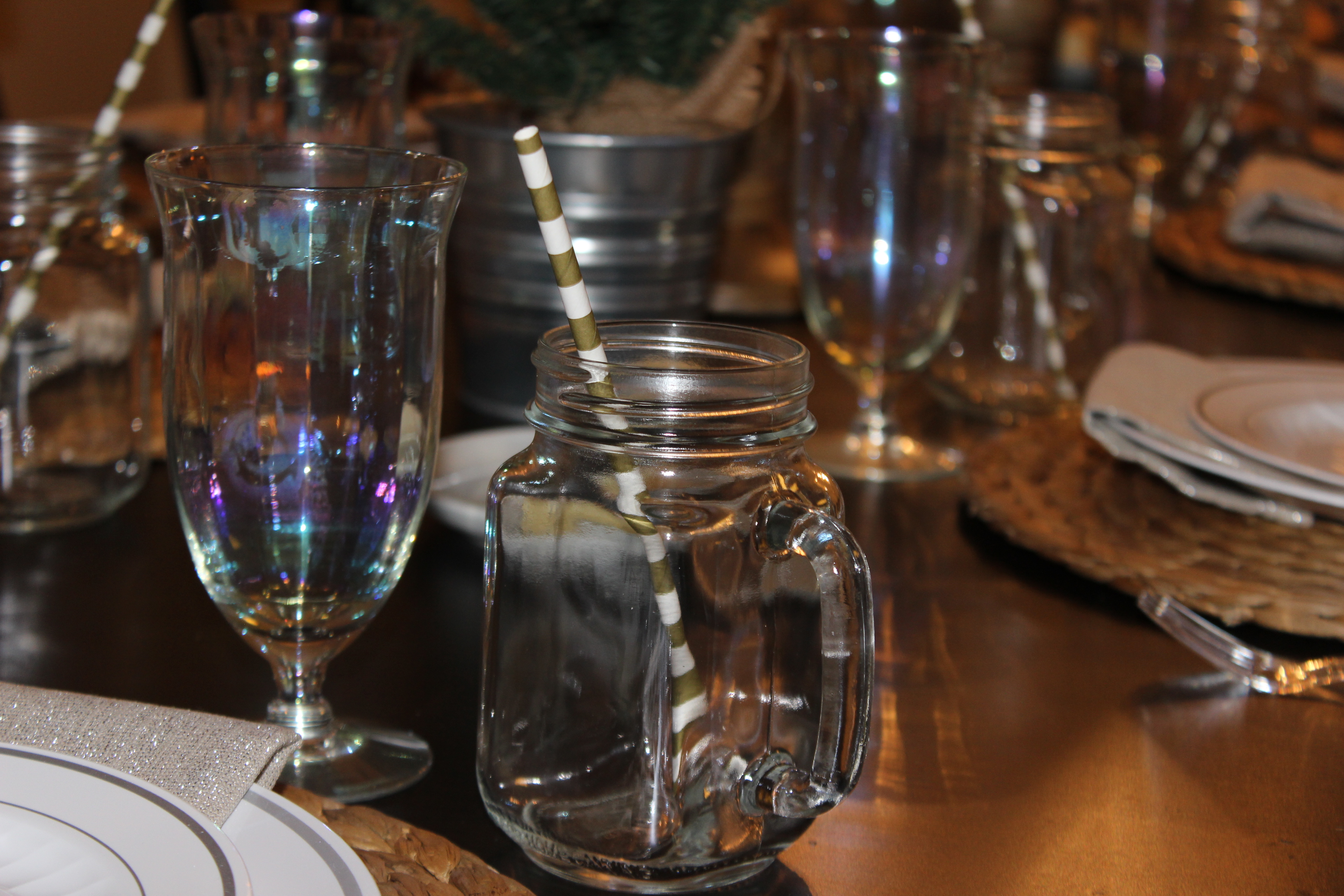 Mix and match glasses for pretty table decor