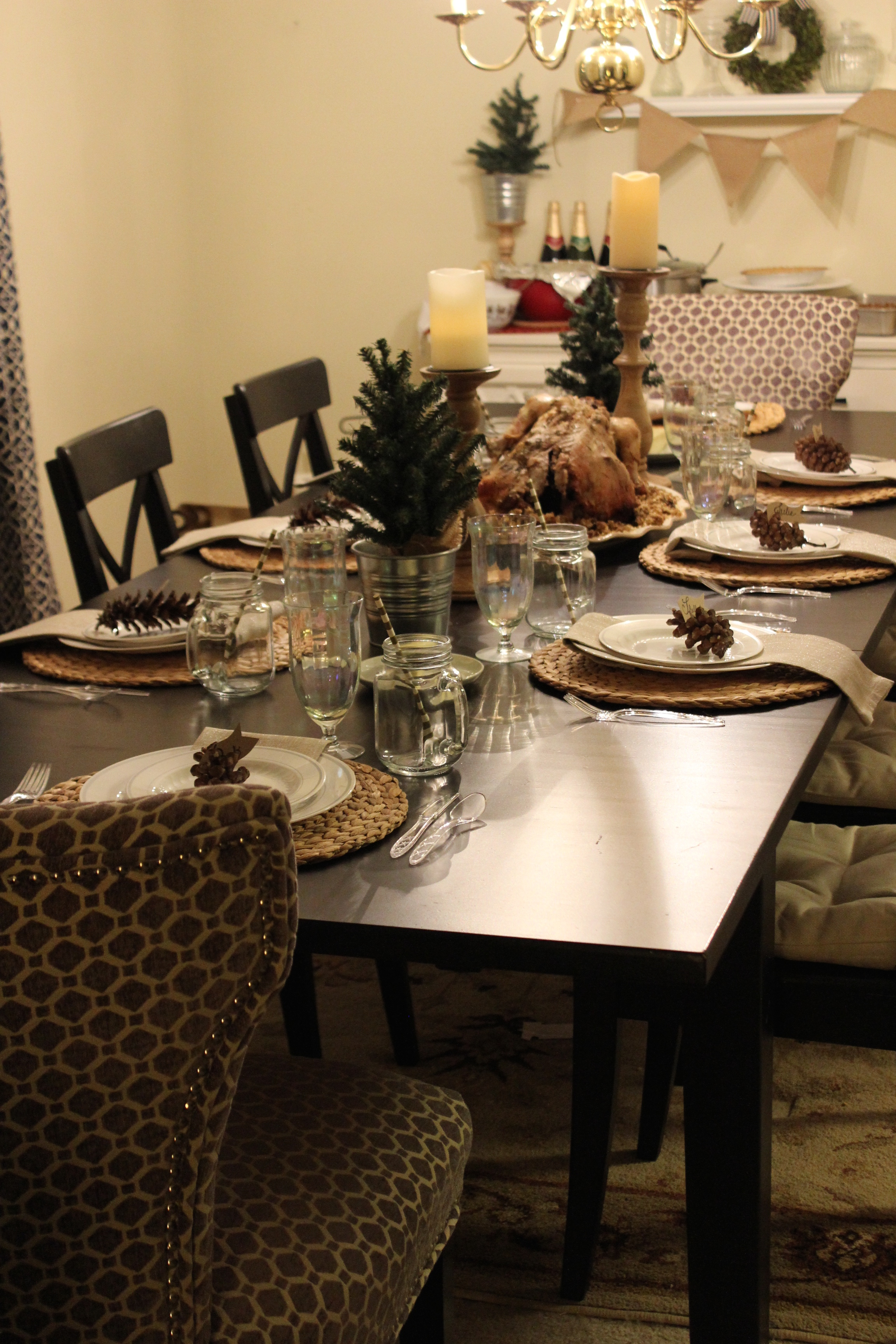 PInecones make great place card holders in this Thanksgiving table decor