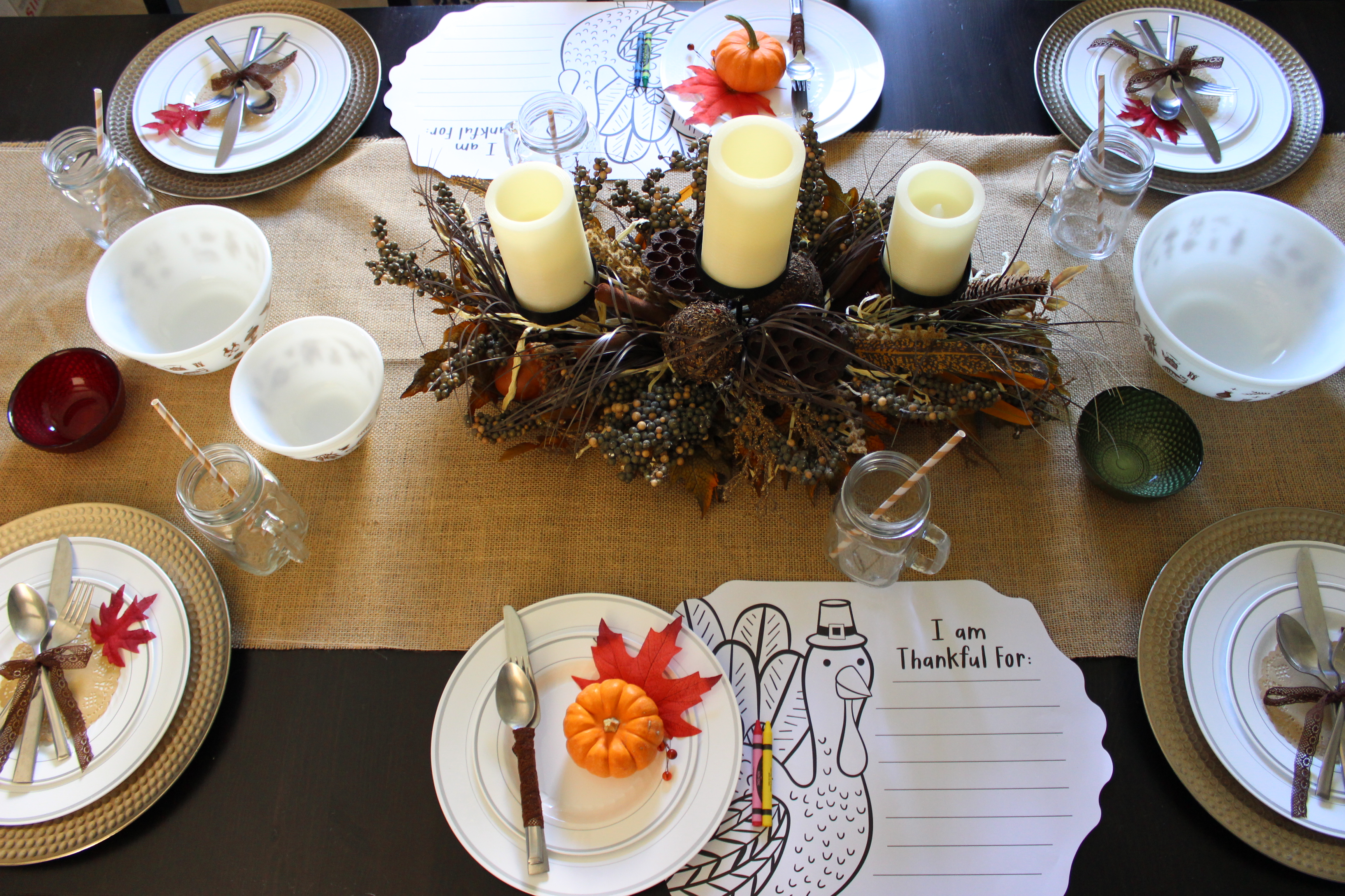 A place mat for writing the things you are grateful for is a nice touch to your Thanksgiving table decor