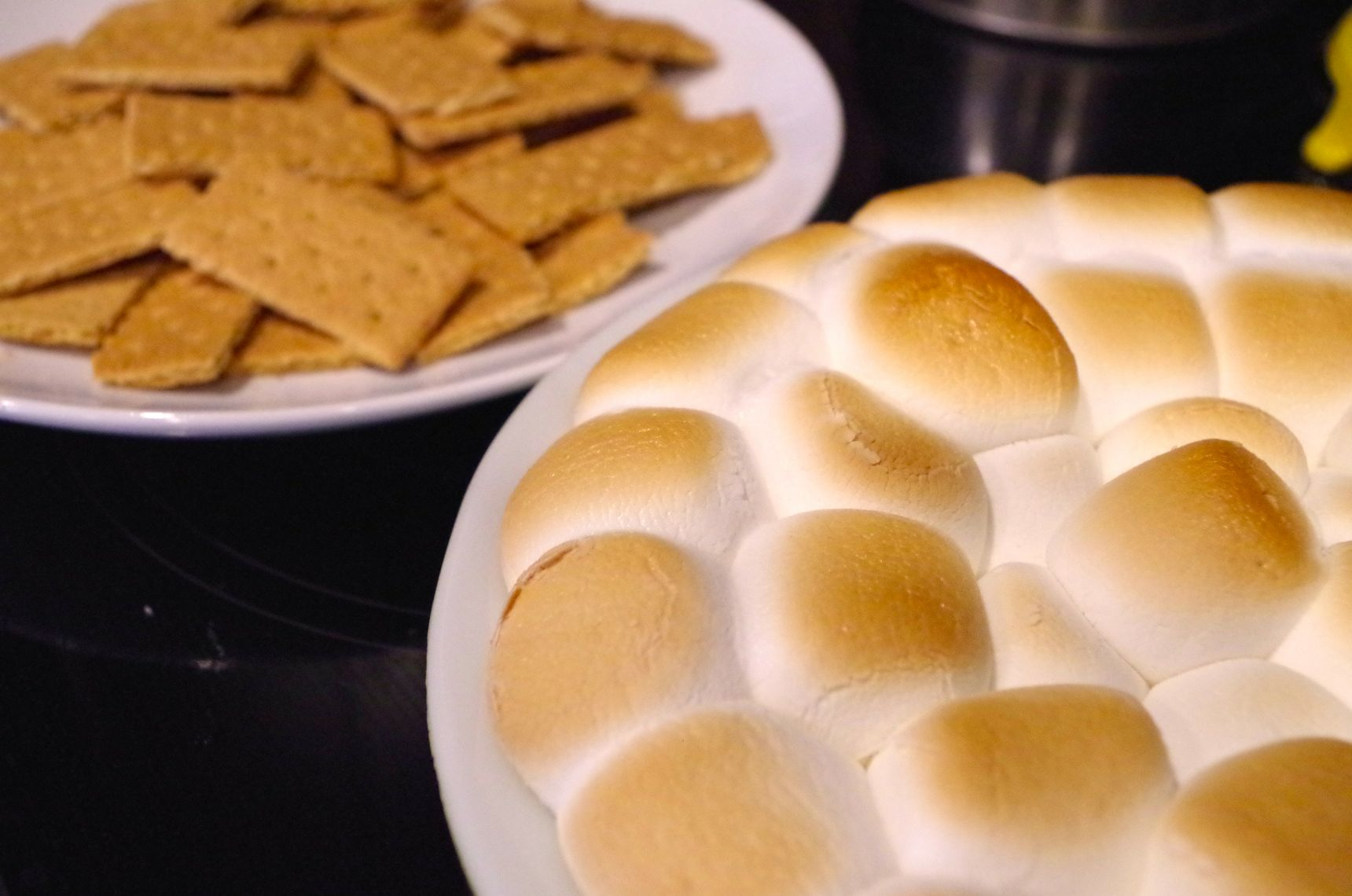 golden marshmallows and graham crackers