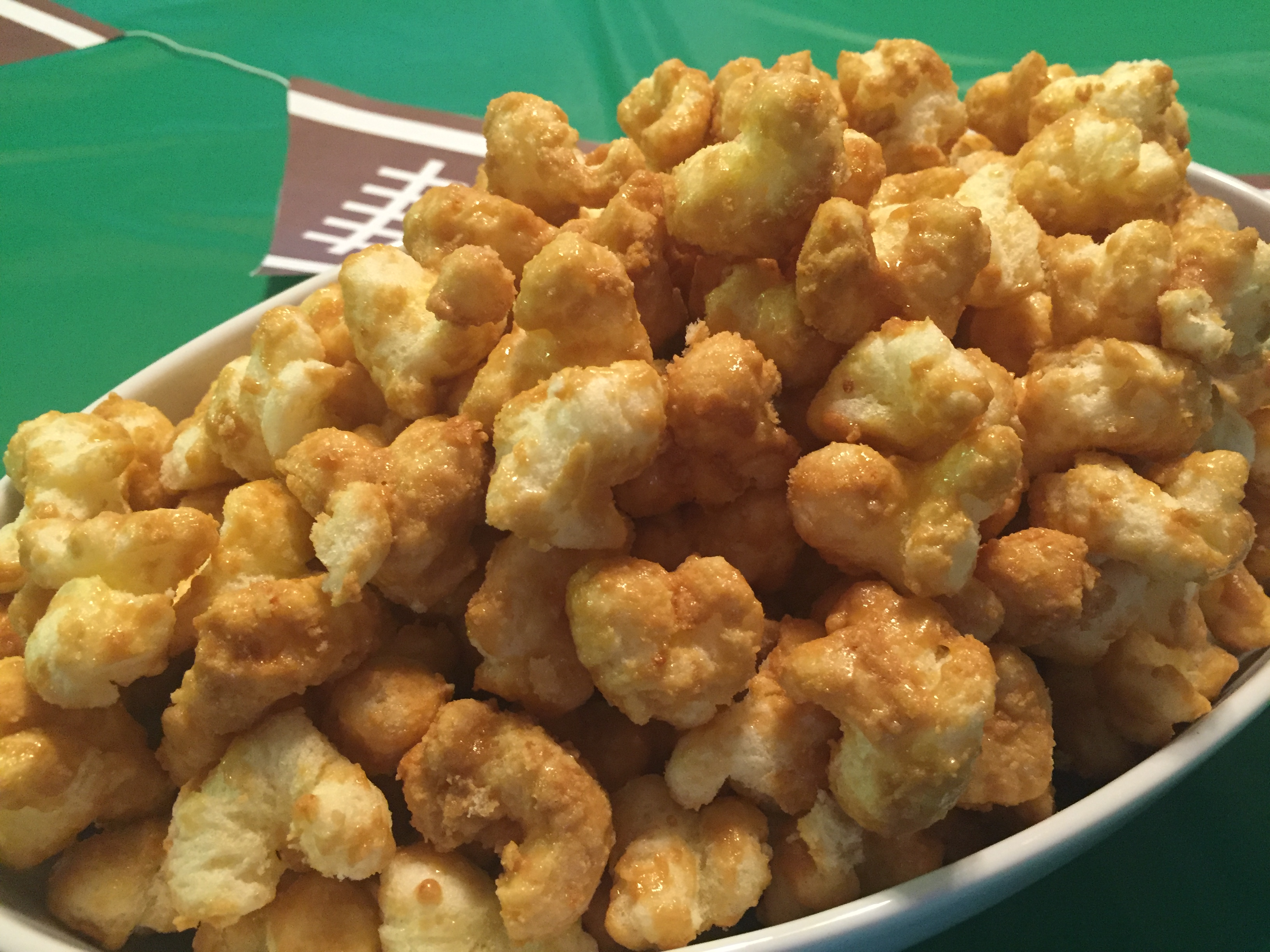 Caramel Puff Corn Recipe on serving table