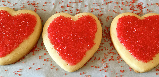 heart-shaped cookies with sprinkles