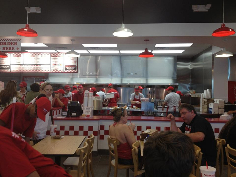 fast food crew working