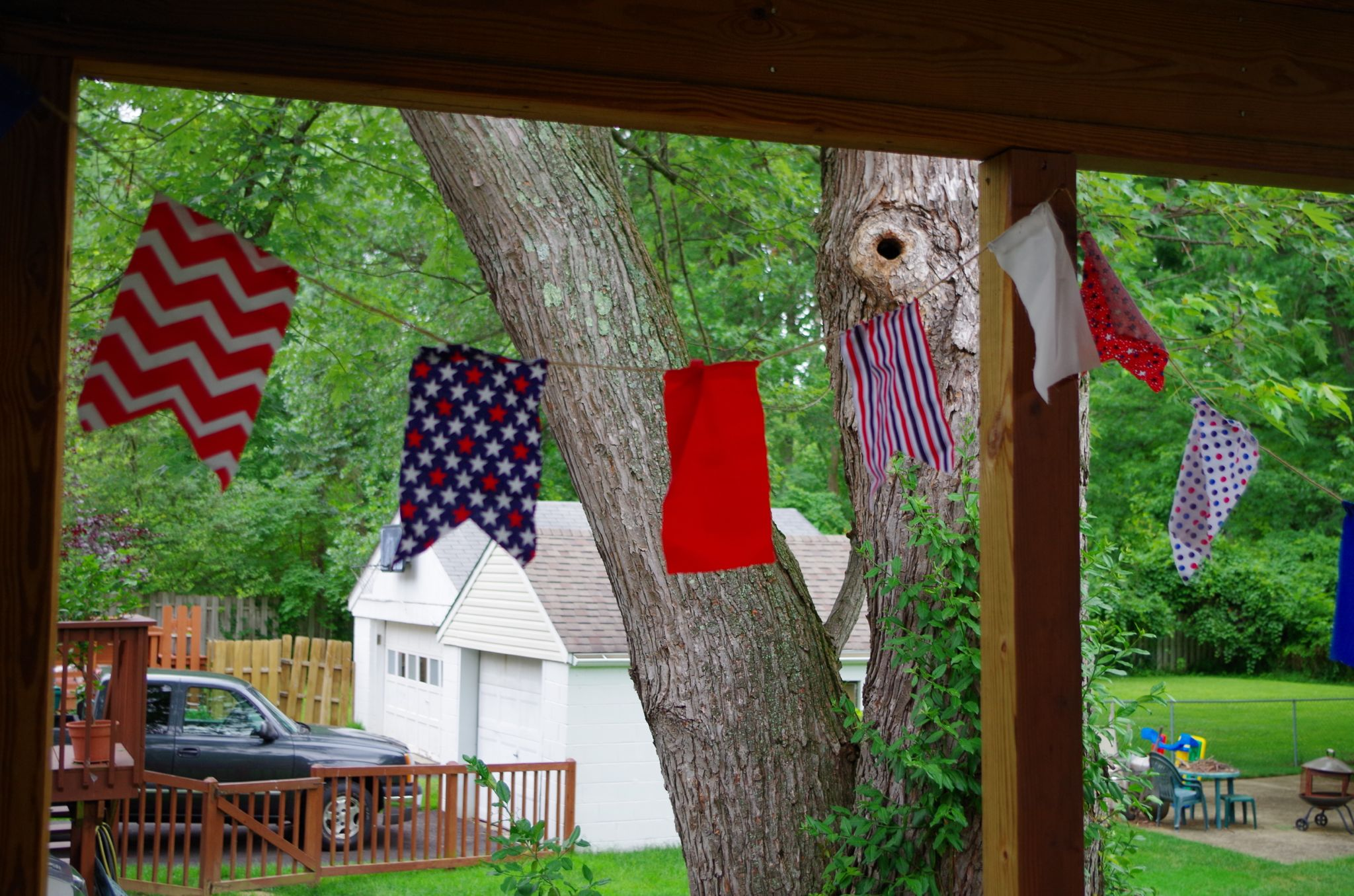 Red, white and blue fabric banner