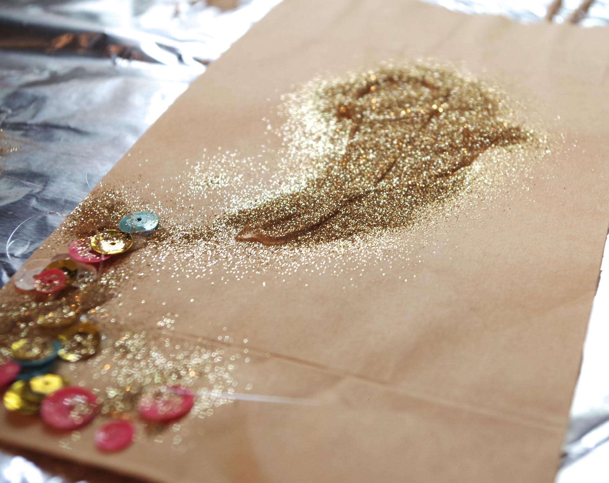 paper bag, gold glitter, colored sequins
