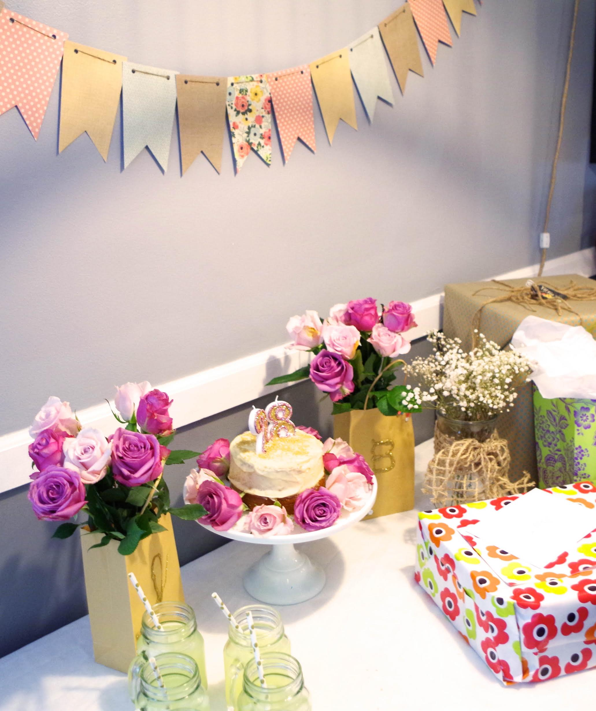cake table, roses, banner, presents