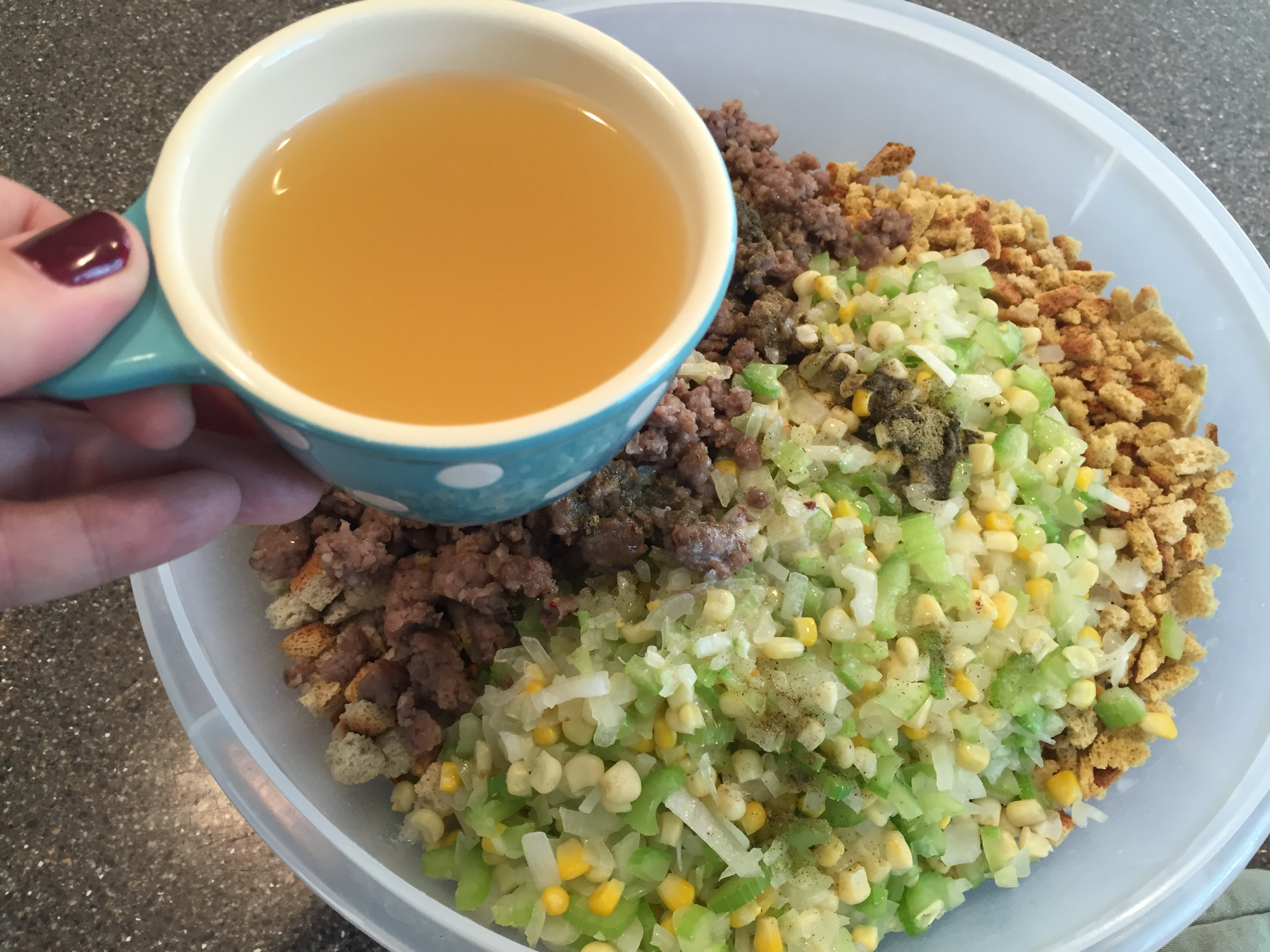 Chicken stock is an ingredient for stuffing with sausage recipe