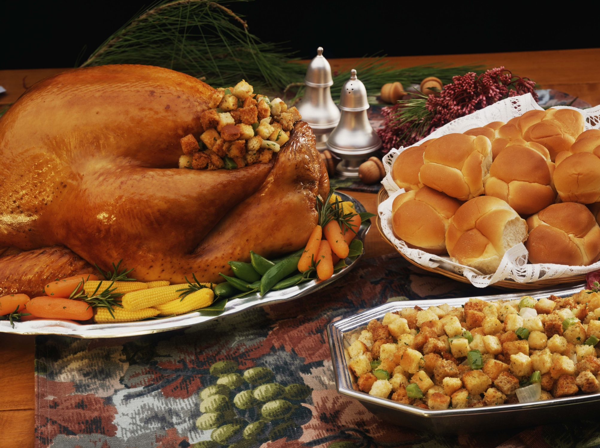 The turkey takes center stage in Thanksgiving dinner.