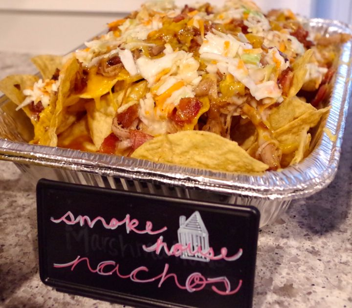 smokehouse nachos, pulled pork, bacon
